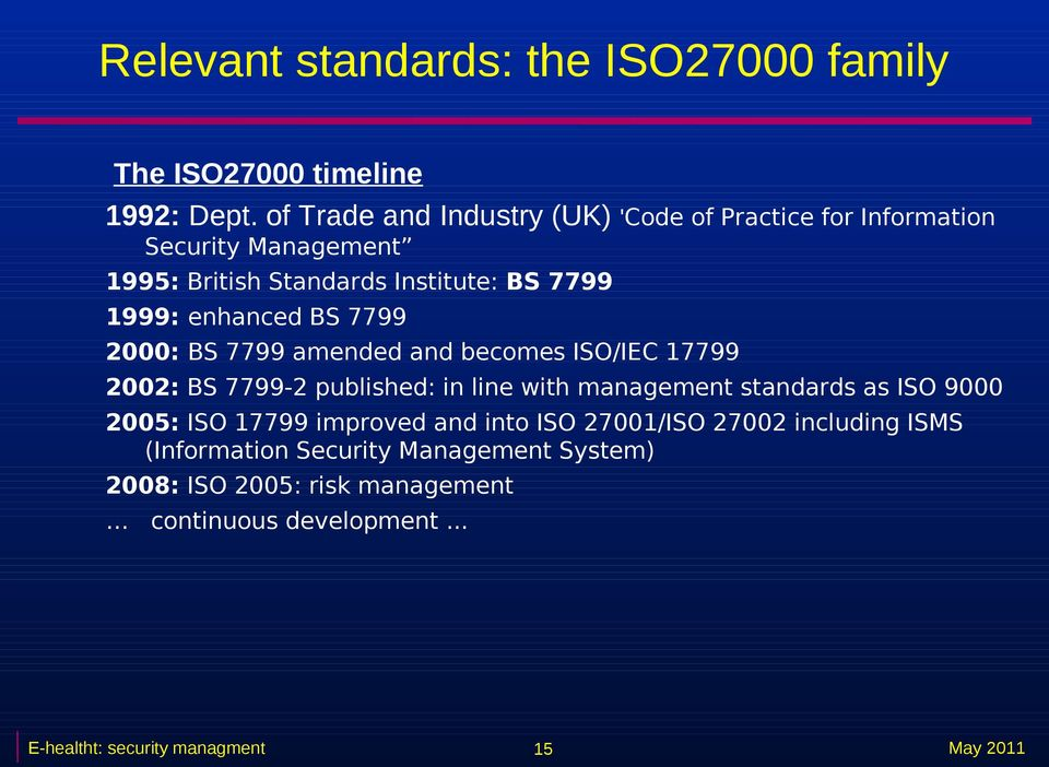 enhanced BS 7799 2000: BS 7799 amended and becomes ISO/IEC 17799 2002: BS 7799-2 published: in line with management standards as ISO