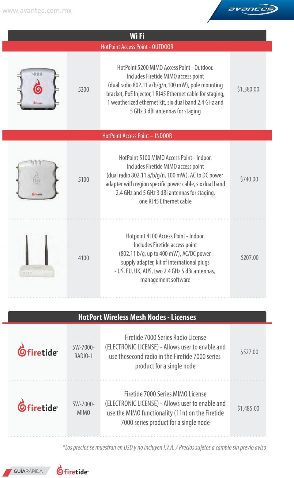 4 GHz and 5 GHz 3 dbi antennas for staging HotPoint Access Point INDOOR 5100 HotPoint 5100 MIMO Access Point - Indoor. Includes Firetide MIMO access point (dual radio 802.