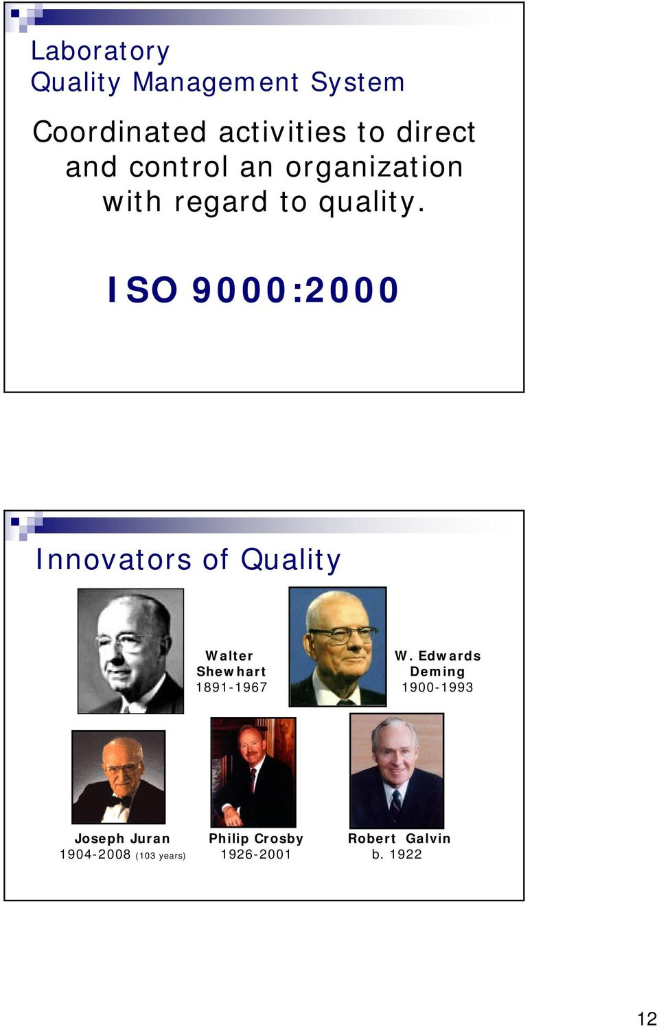 ISO 9000:2000 Innovators of Quality Walter Shewhart 1891-1967 W.