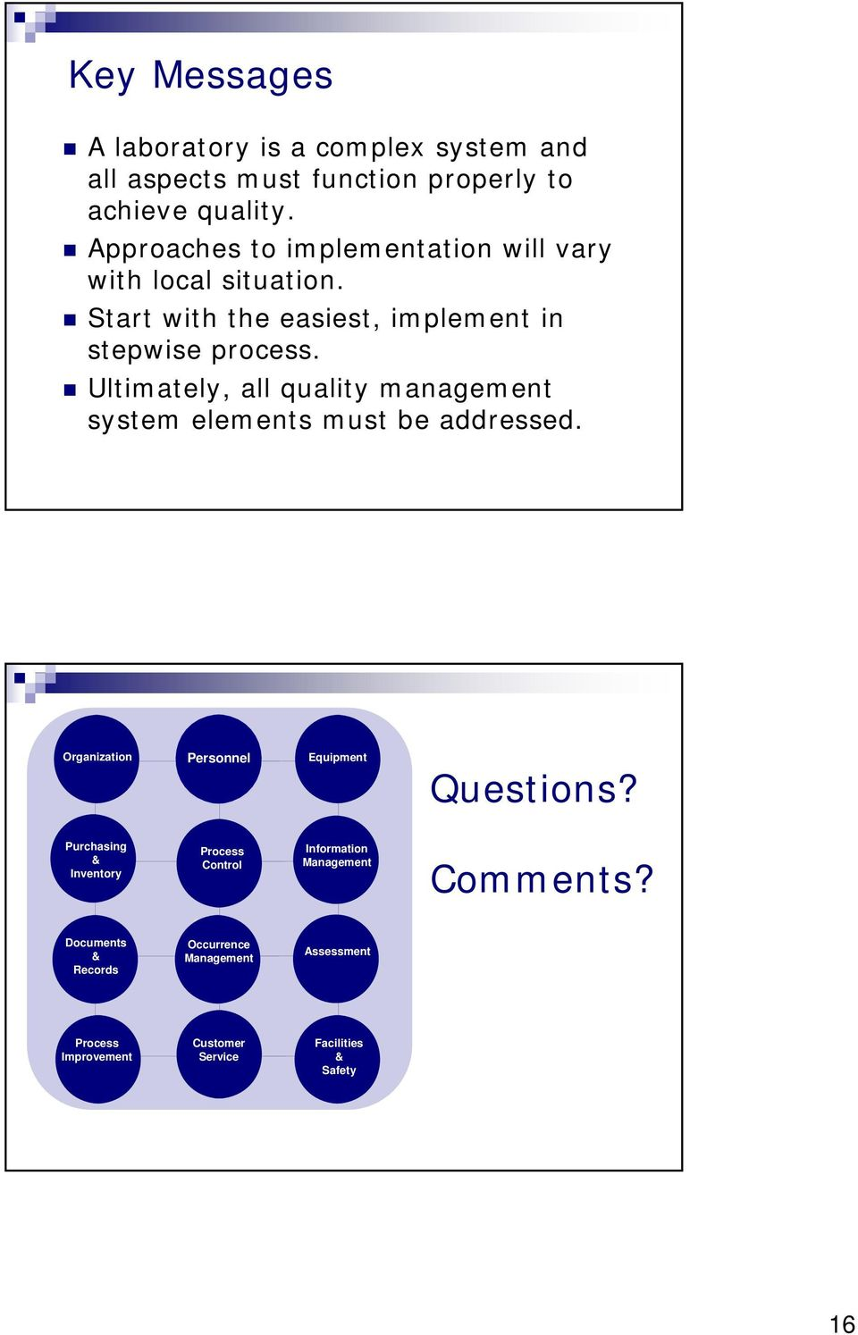 Ultimately, all quality management system elements must be addressed. Organization Personnel Equipment Questions?
