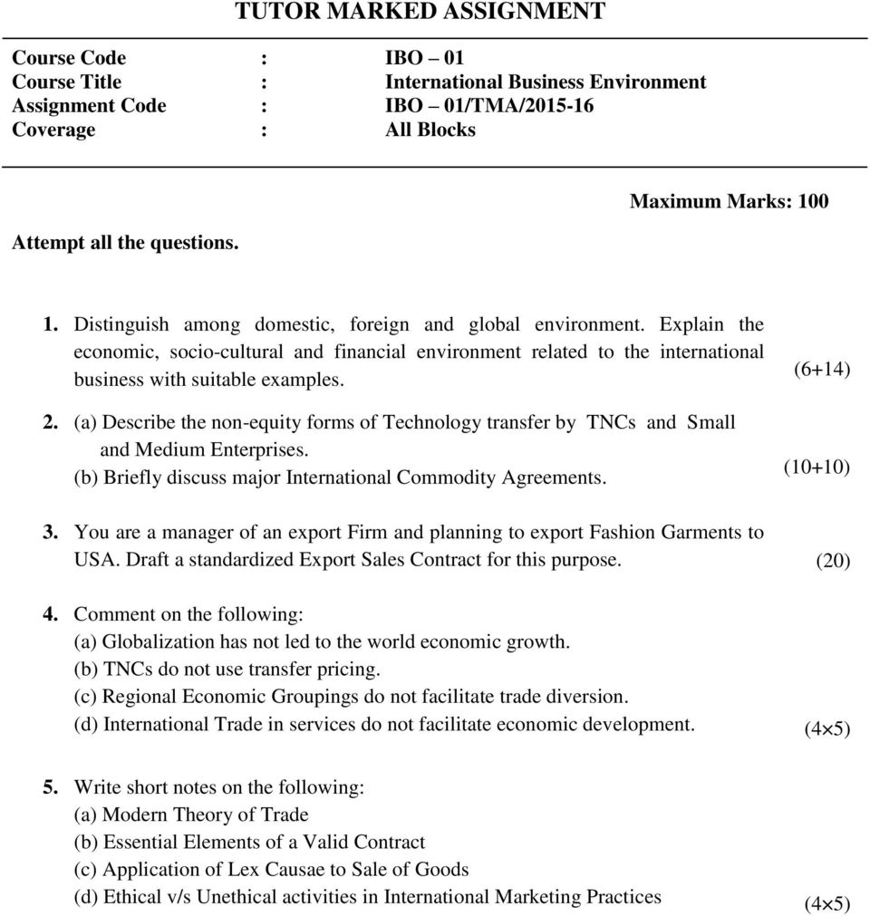 POST GRADUATE DIPLOMA IN INTERNATIONAL BUSINESS OPERATIONS PDF – Export Contract
