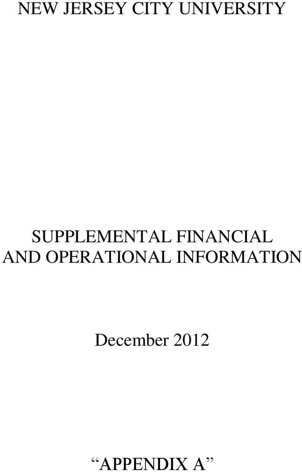 FINANCIAL AND OPERATIONAL