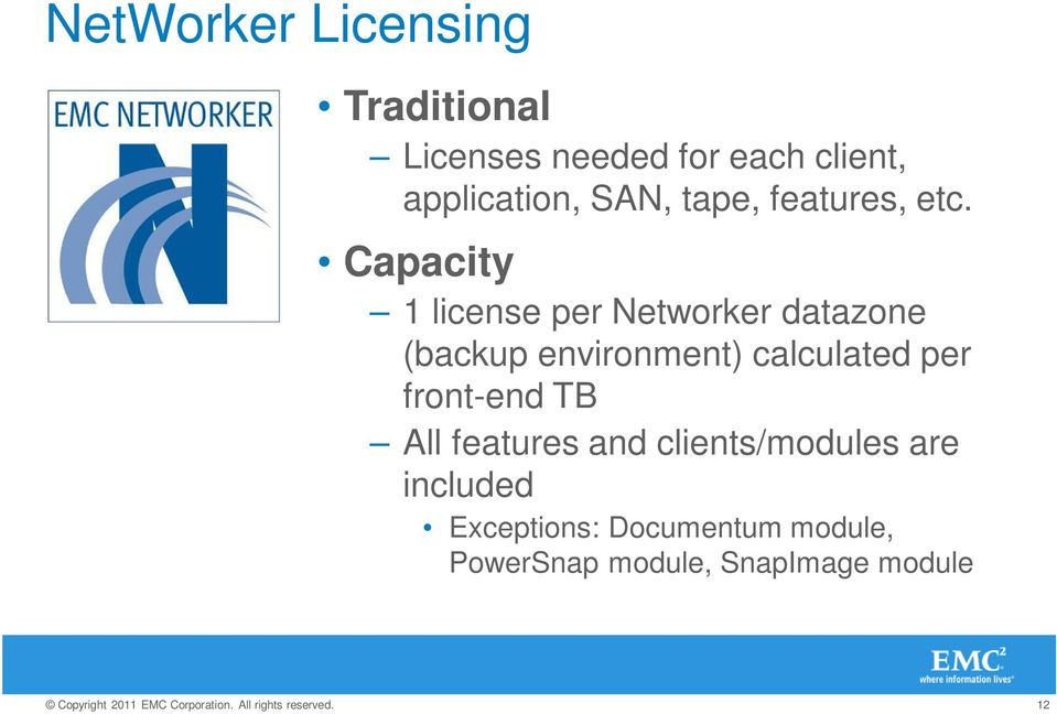 Capacity 1 license per Networker datazone (backup environment) calculated per