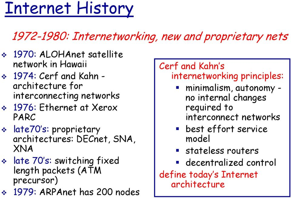 switching fixed length packets (ATM precursor) 1979: ARPAnet has 200 nodes Cerf and Kahn s internetworking principles: minimalism, autonomy -