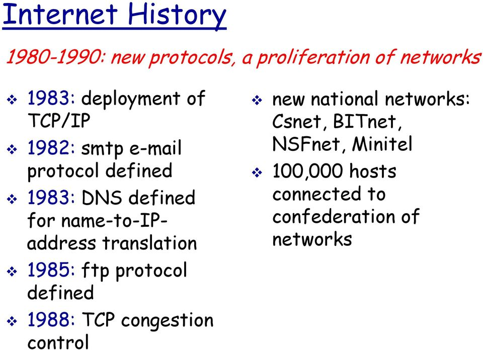 name-to-ipaddress translation 1985: ftp protocol defined 1988: TCP congestion control
