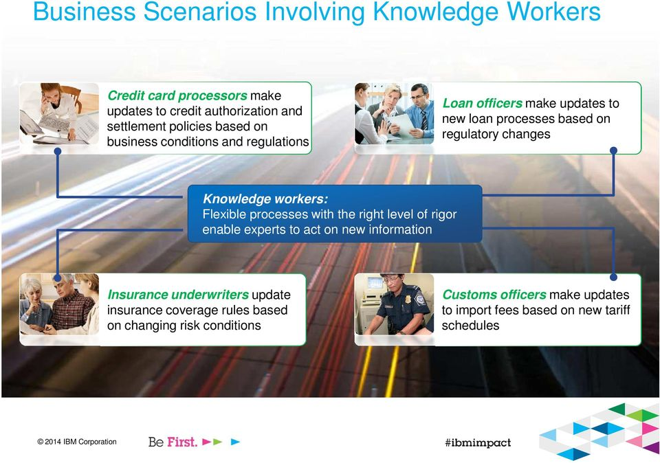 workers: Flexible processes with the right level of rigor enable experts to act on new information Insurance underwriters update