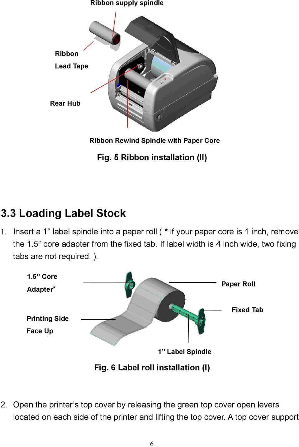 If label width is 4 inch wide, two fixing tabs are not required. ). 1.5 Core Adapter* Paper Roll Printing Side Face Up Fixed Tab 1 Label Spindle Fig.