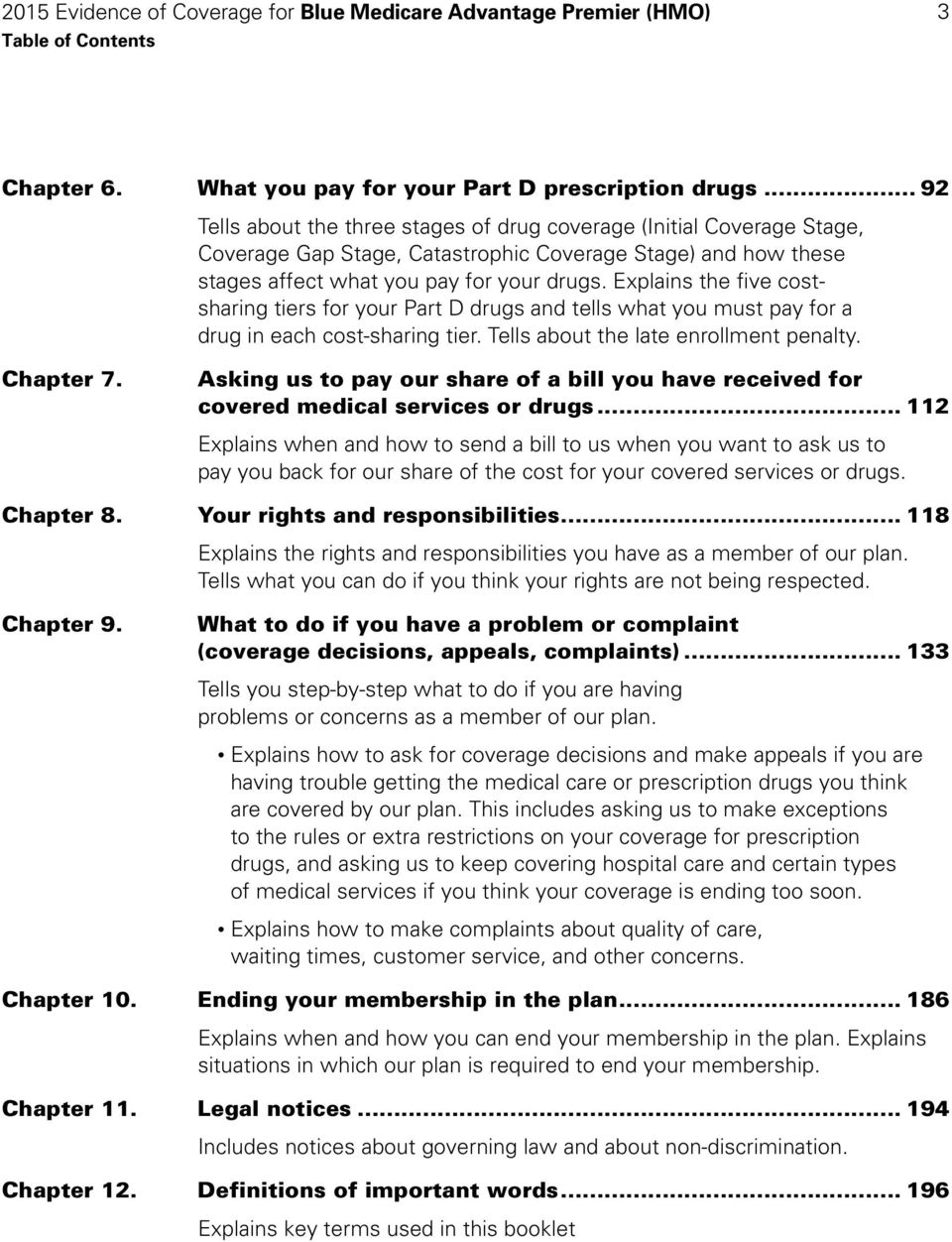 Explains the five costsharing tiers for your Part D drugs and tells what you must pay for a drug in each cost-sharing tier. Tells about the late enrollment penalty. Chapter 7.