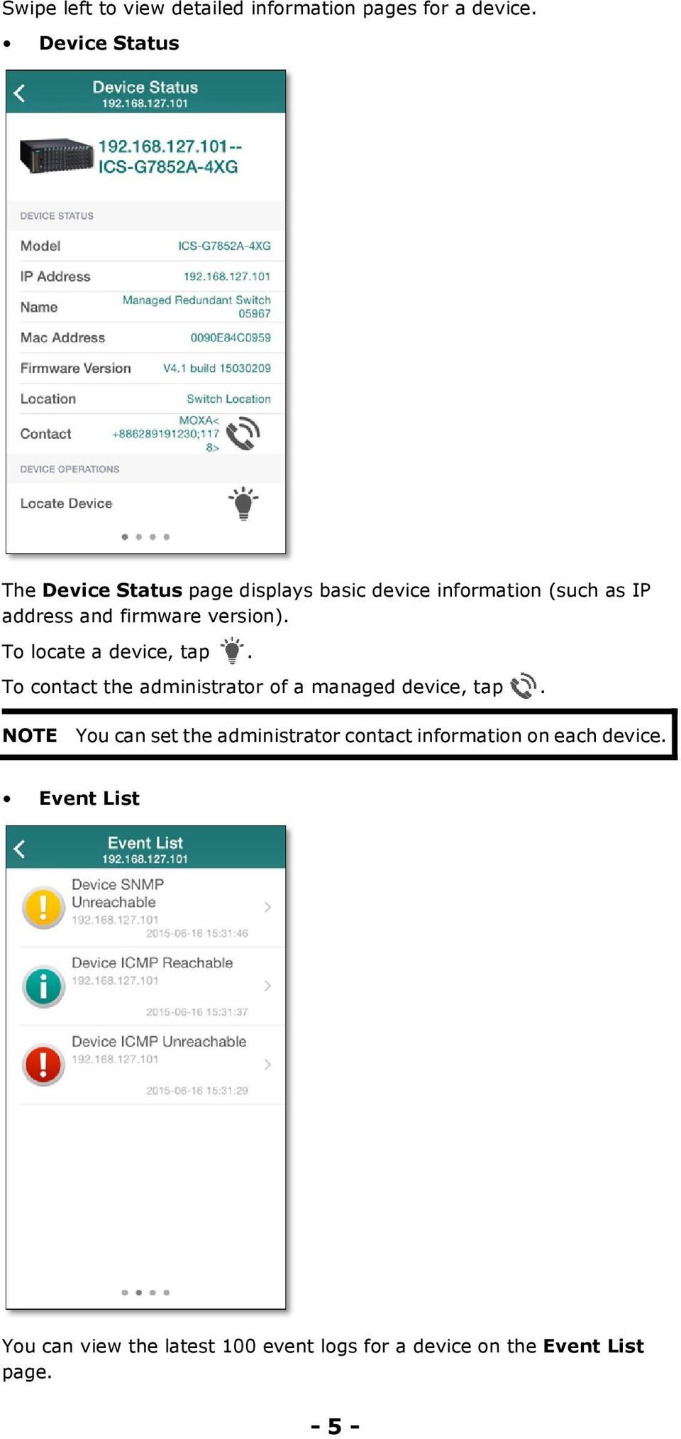 version). To locate a device, tap. To contact the administrator of a managed device, tap.