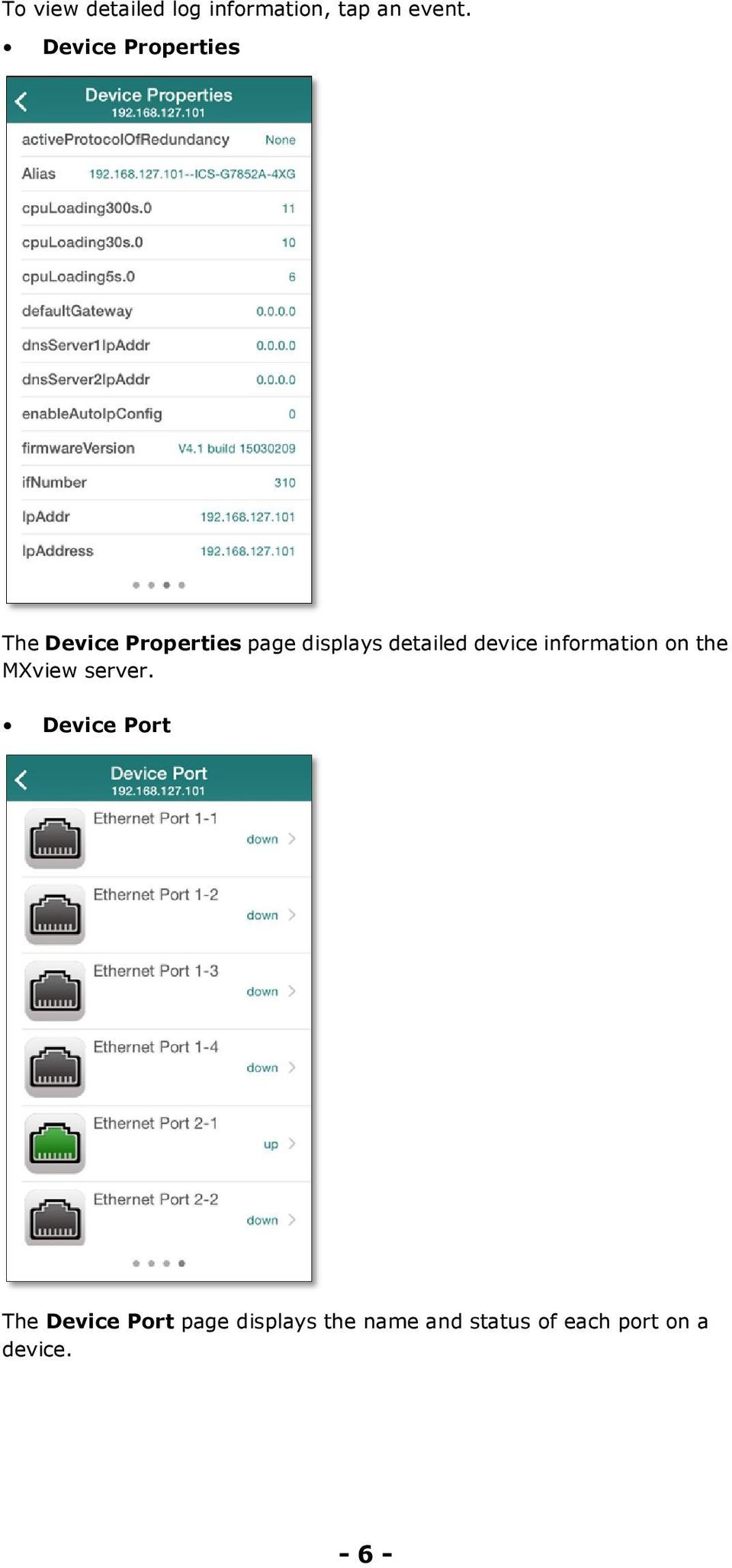 detailed device information on the MXview server.