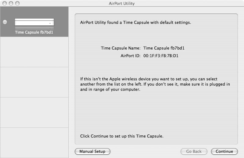 3 Follow the onscreen instructions to set up your Time Capsule and your wireless network.