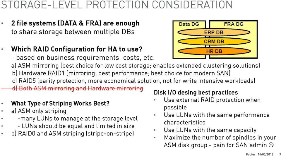 a) ASM mirroring (best choice for low cost storage; enables extended clustering solutions) b) Hardware RAID1 (mirroring; best performance; best choice for modern SAN) c) RAID5 (parity protection,