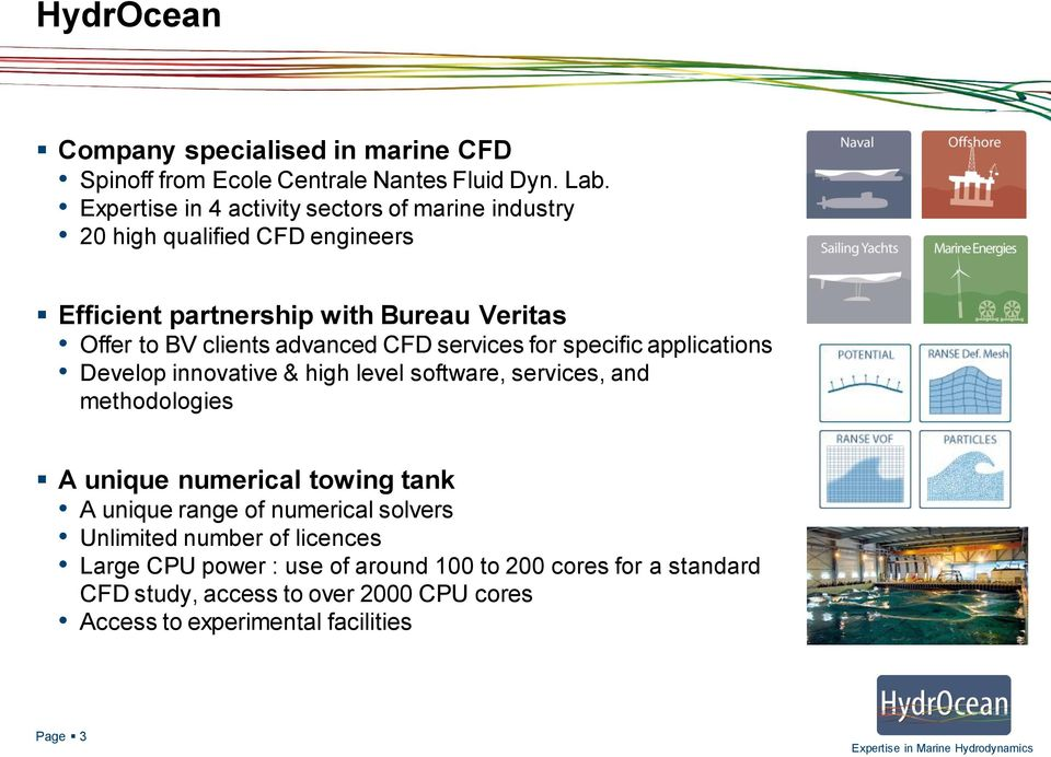 advanced CFD services for specific applications Develop innovative & high level software, services, and methodologies A unique numerical towing tank