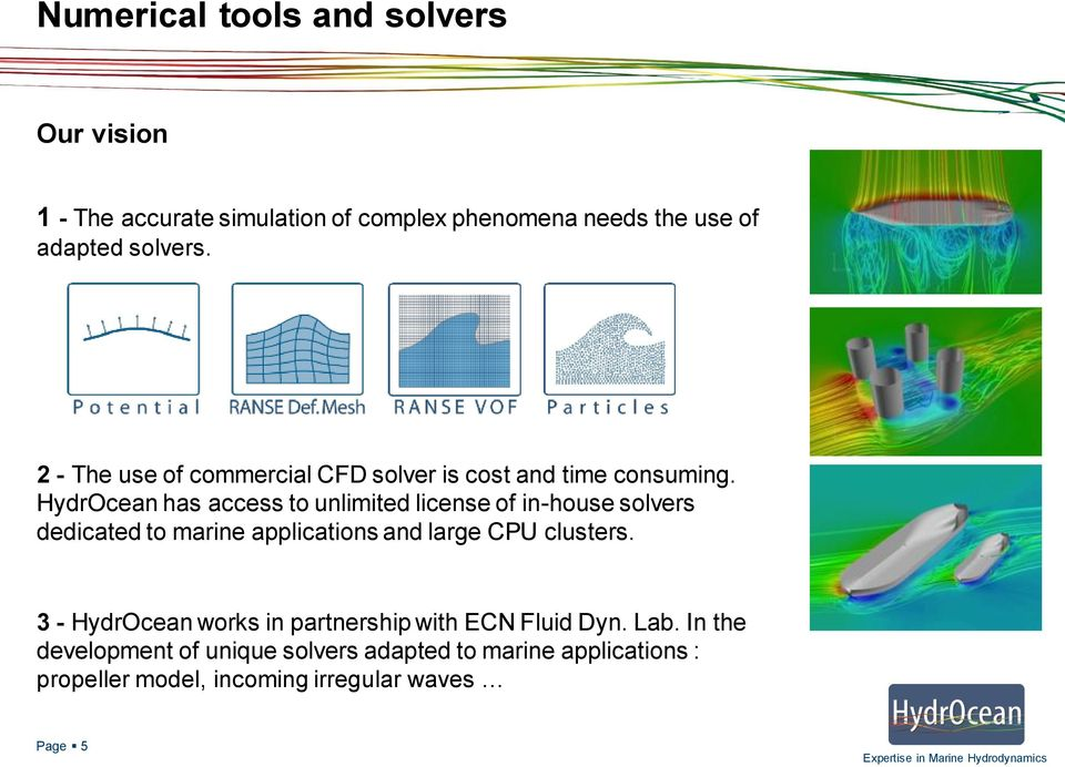 HydrOcean has access to unlimited license of in-house solvers dedicated to marine applications and large CPU clusters.