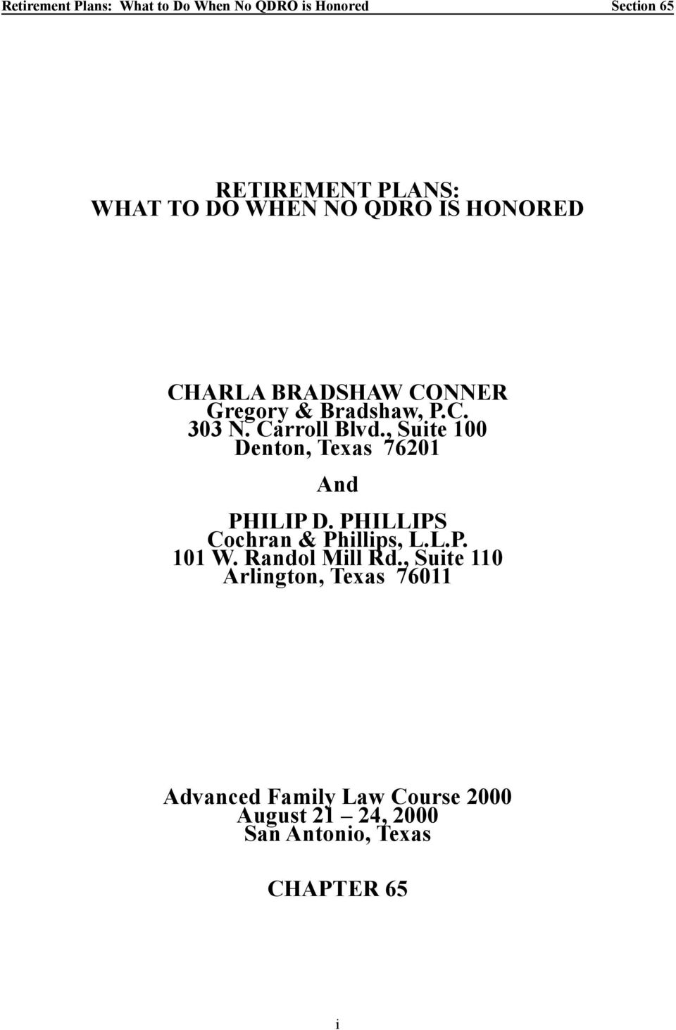 Retirement plans what to do when no qdro is honored pdf phillips cochran phillips llp 101 w randol mill solutioingenieria Image collections