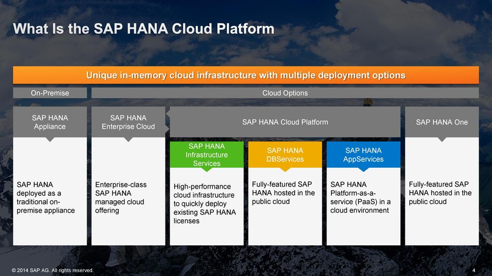 Enterprise-class SAP HANA managed cloud offering High-performance cloud infrastructure to quickly deploy existing SAP HANA licenses Fully-featured SAP HANA
