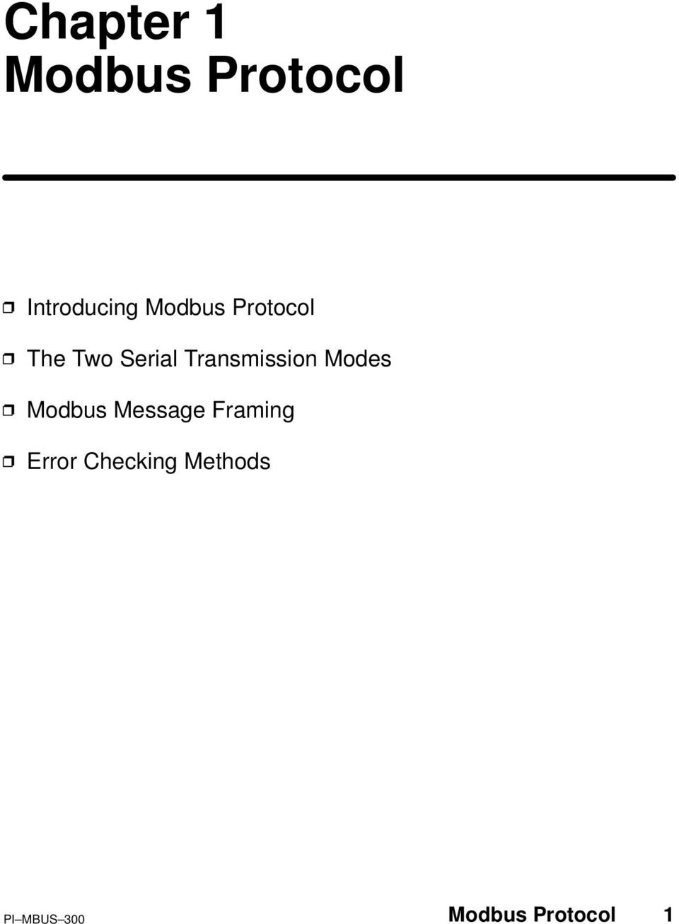 Transmission Modes Modbus Message