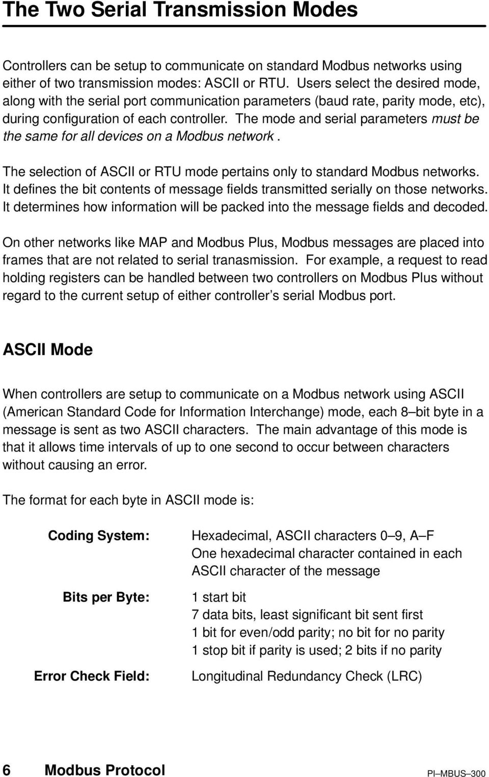 The mode and serial parameters must be the same for all devices on a Modbus network. The selection of ASCII or RTU mode pertains only to standard Modbus networks.