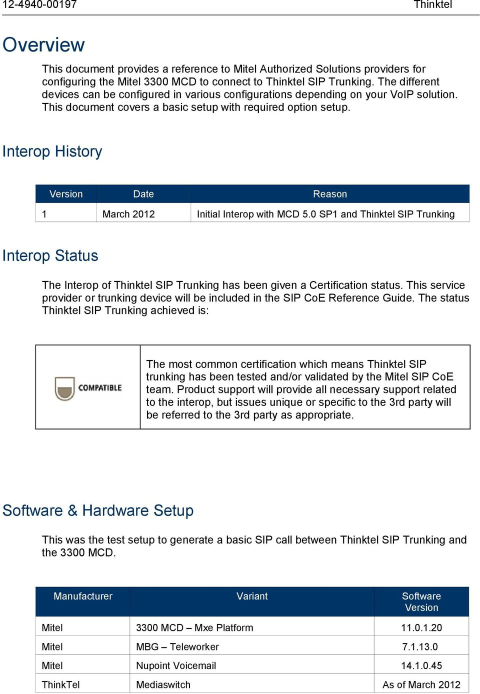 Interop History Version 1 Date March 2012 Reason Initial Interop with MCD 5.0 SP1 and SIP Trunking Interop Status The Interop of SIP Trunking has been given a Certification status.