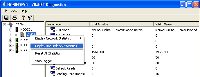 4.3 Redundancy Statistics Right click on the VIM to get a context menu.