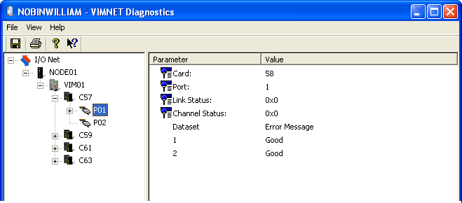 4.5 Port Level Diagnostics Port level diagnostics show the port status, as well as status of datasets. Dataset status is shown as a character string corresponding to any error which might exist.