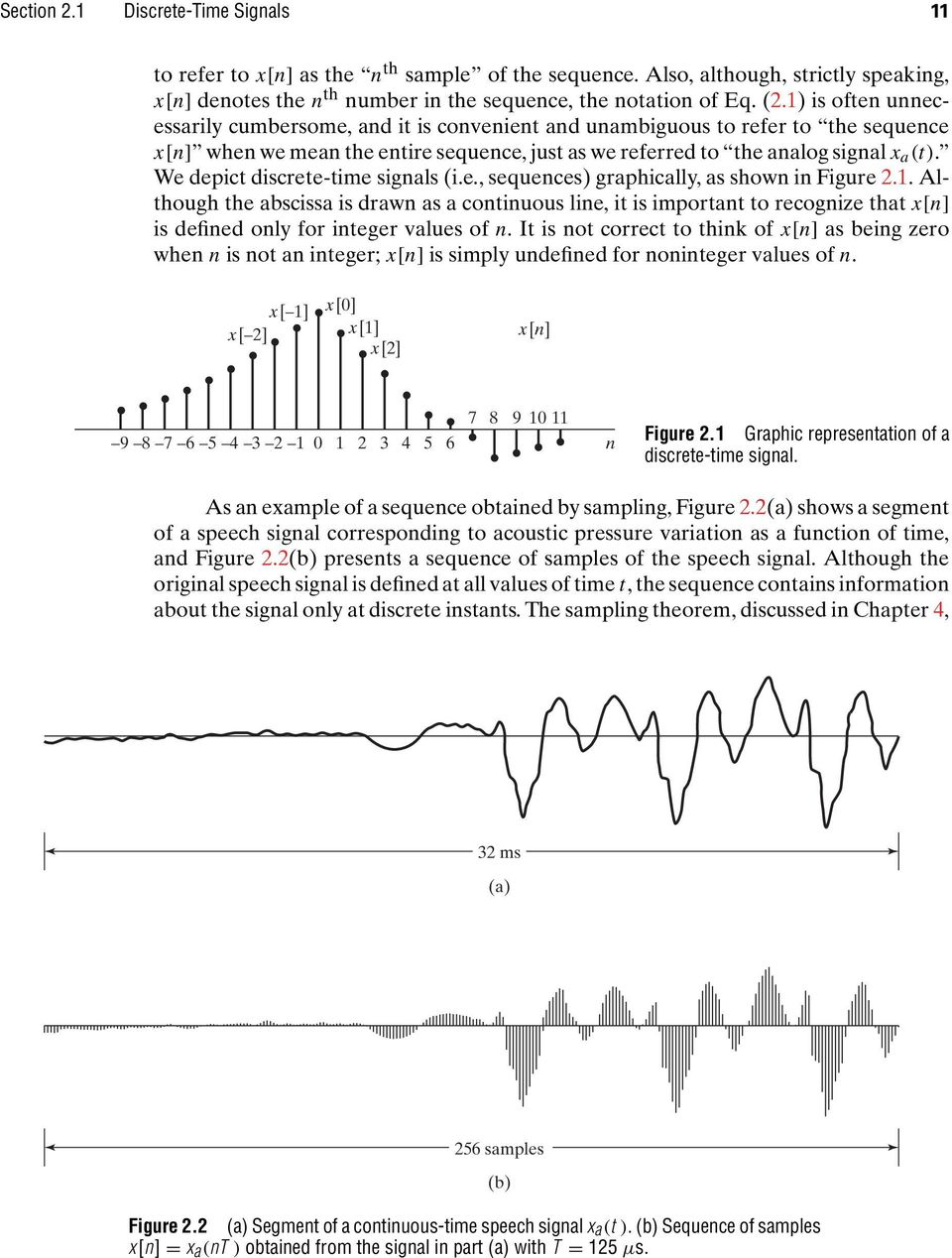 We depict discrete-time signals (i.e., sequences) graphically, as shown in Figure 2.