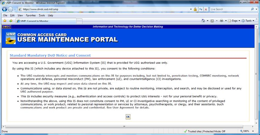 b. Activating Your PIV Authentication Certificate Accept the DOD Notice and Consent by clicking OK.