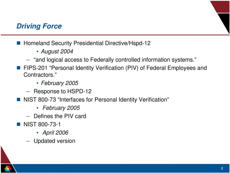 FIPS-201 Personal Identity Verification (PIV) of Federal Employees and Contractors.