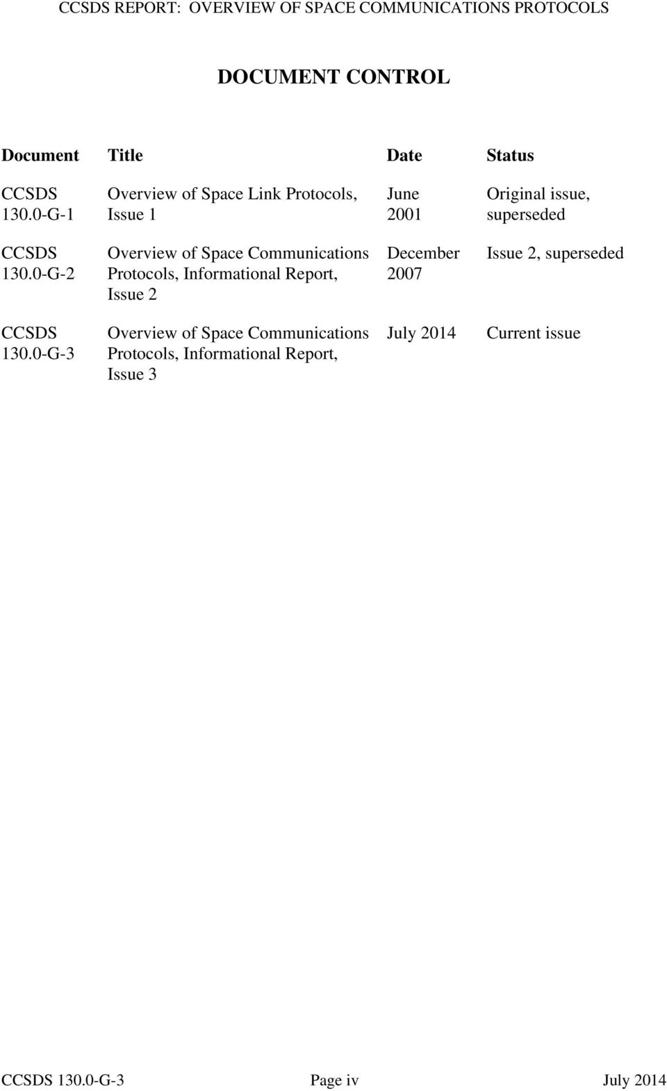 0-G-2 Overview of Space Communications Protocols, Informational Report, Issue 2 December 2007 Issue 2,