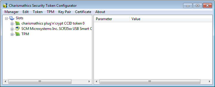 3 Charismathics Security Token Configurator Token Configurator tools enable personalizing the card, changing your PINs, unlocking tokens, importing certificate and pfx file, generating keys and self