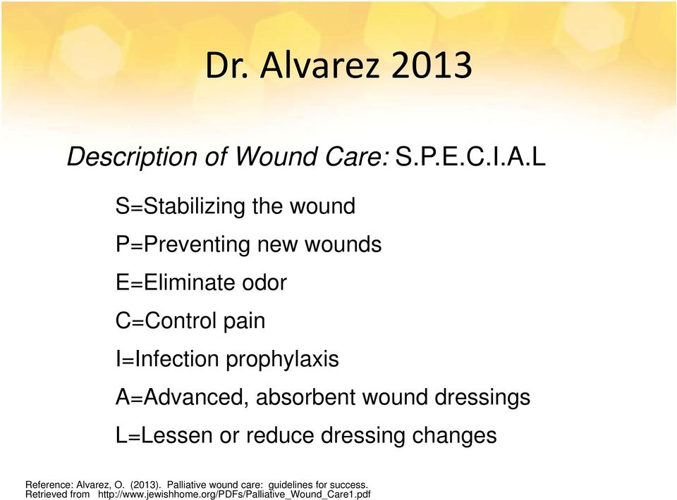 L S=Stabilizing the wound P=Preventing new wounds E=Eliminate odor C=Control pain I=Infection