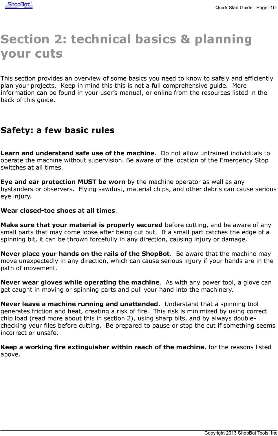 shopbot quick start guide for prs alpha and standard tools pdf safety a few basic rules learn and understand safe use of the machine do