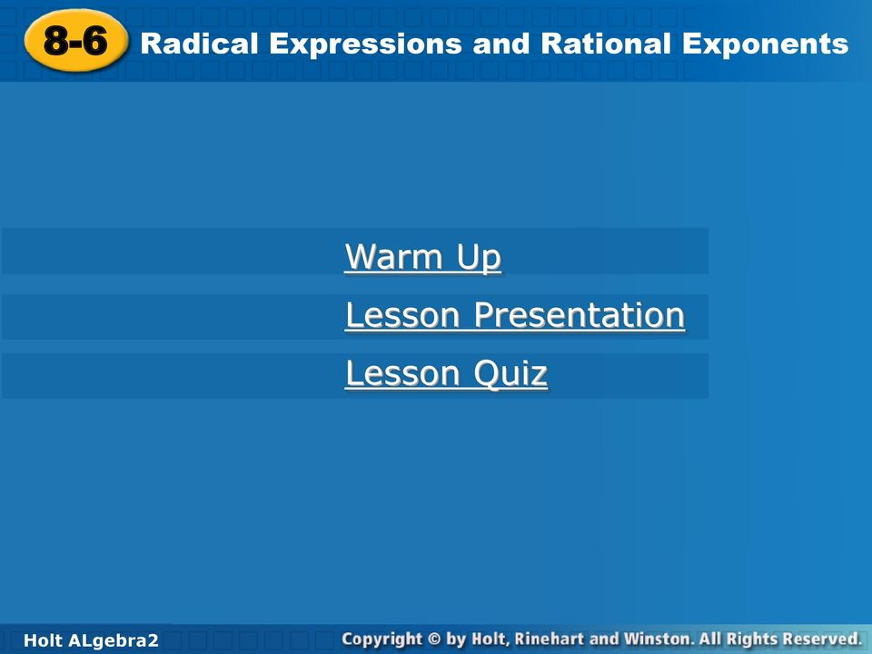 Holt Mcdougal Algebra 2 Radical Expressions And Rational