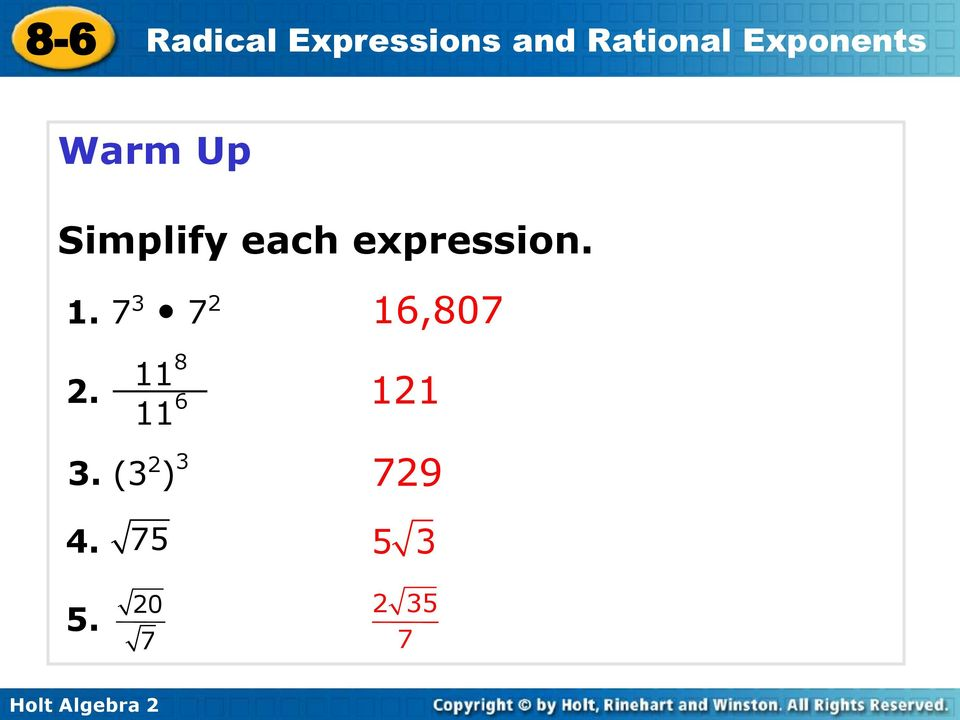 86 Radical Expressions and Rational Exponents Warm Up Lesson – Adding and Subtracting Radicals Worksheets