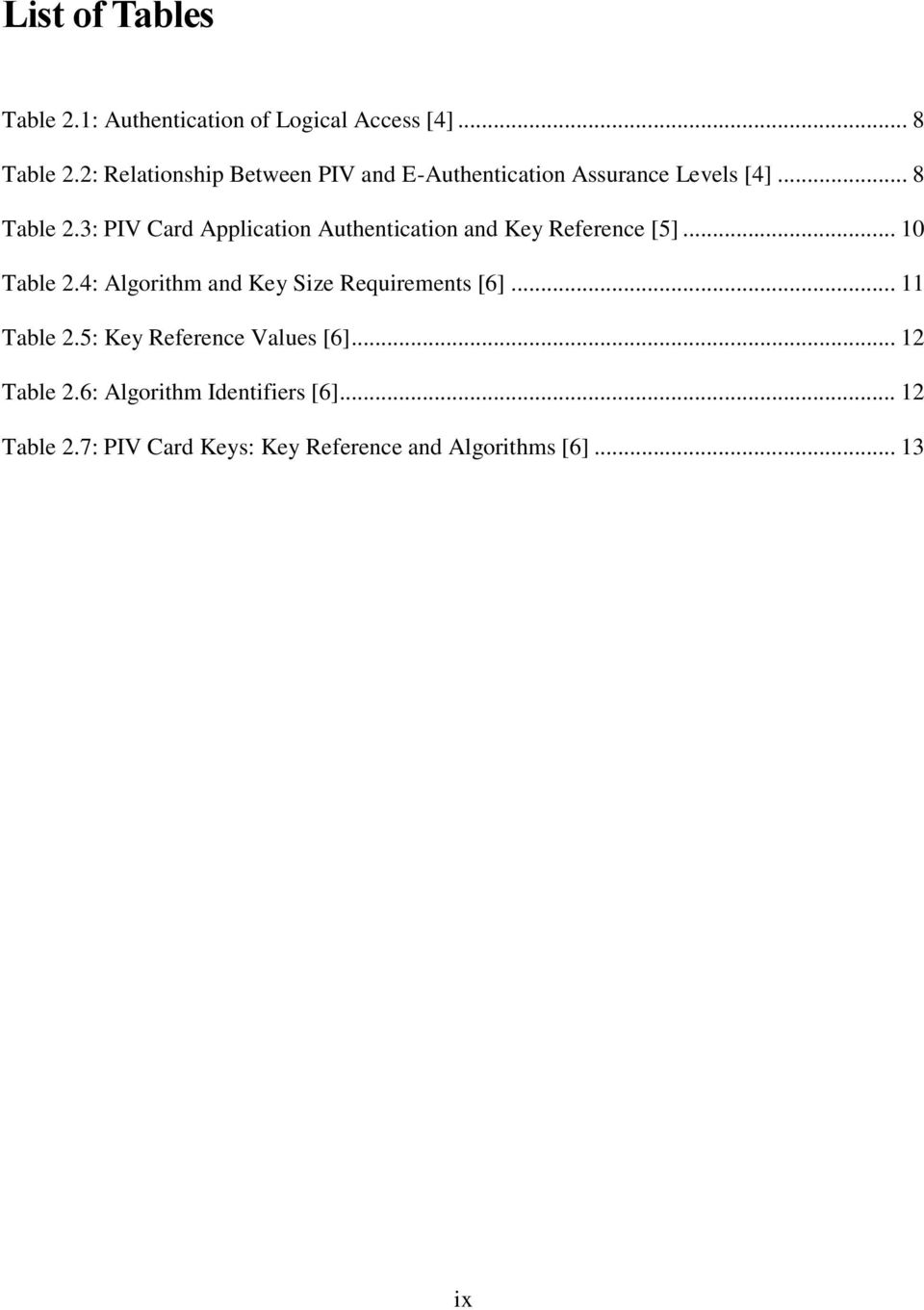 3: PIV Card Application Authentication and Key Reference [5]... 10 Table 2.