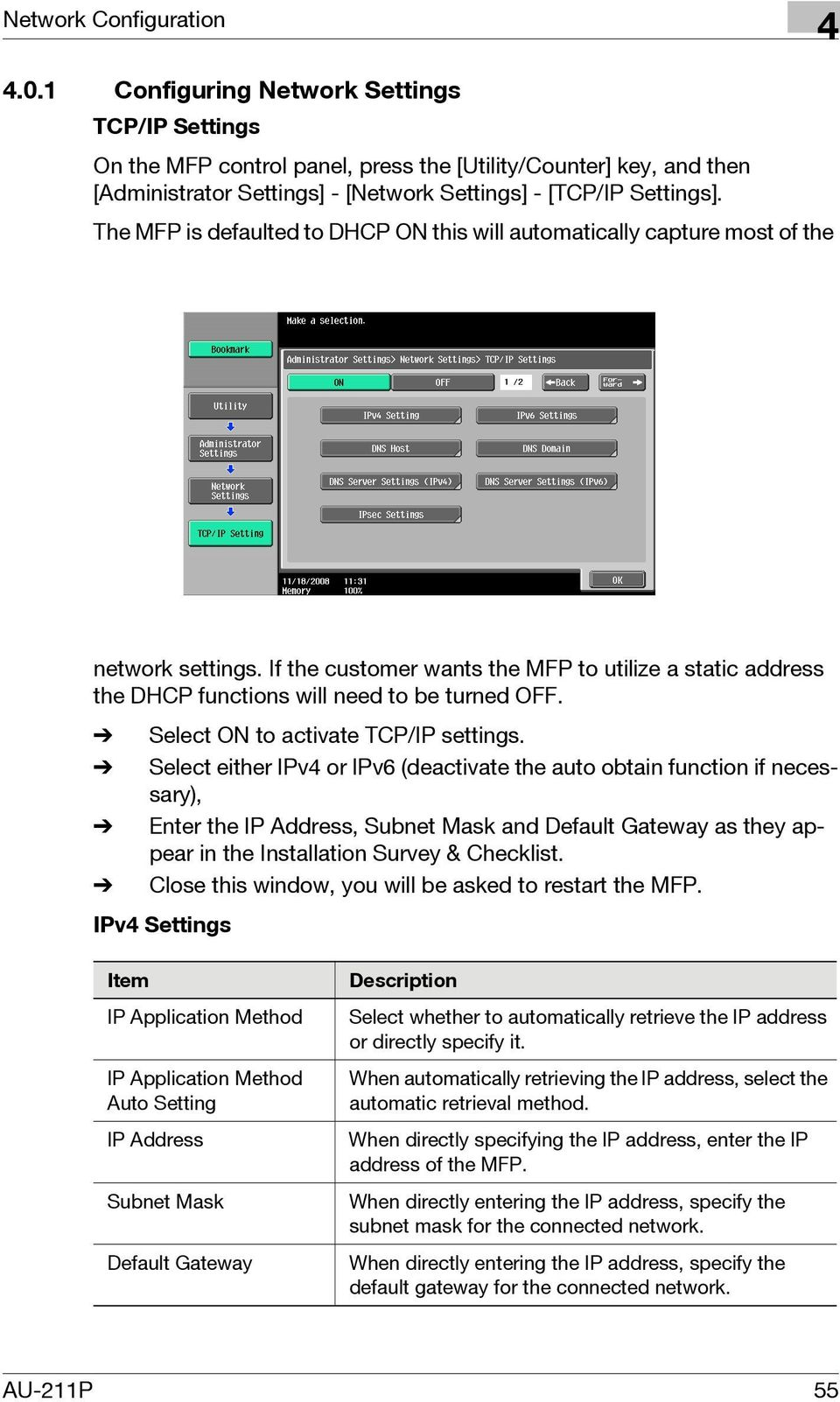 % Select ON to activate TCP/IP settings.