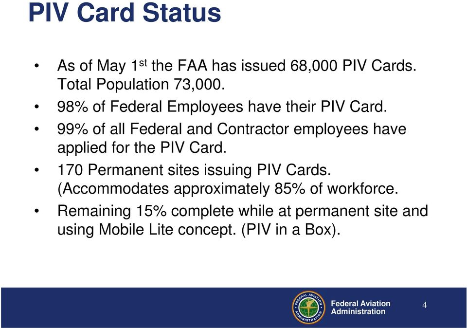 99% of all Federal and Contractor employees have applied for the PIV Card.