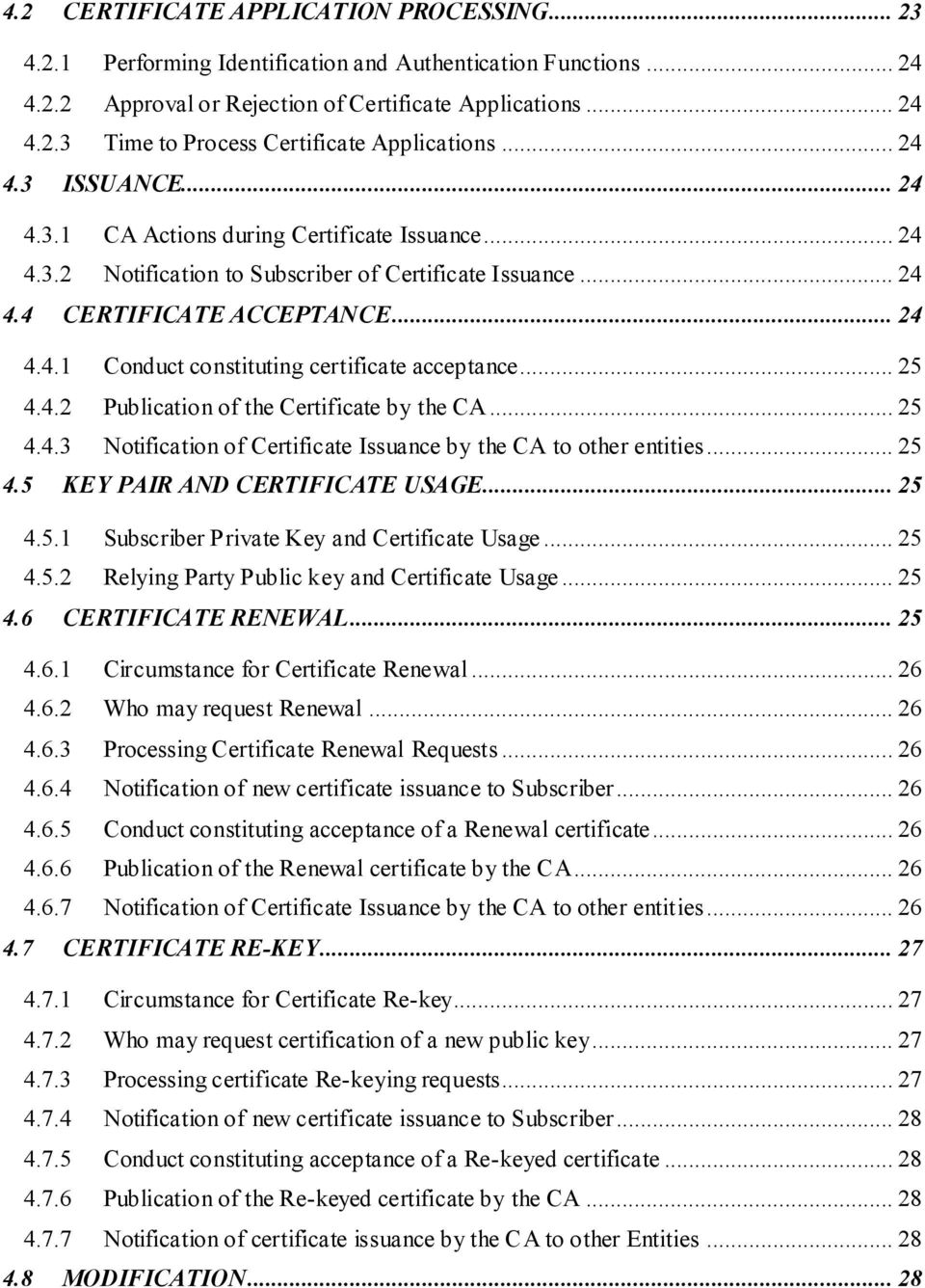 .. 25 4.4.2 Publication of the Certificate by the CA... 25 4.4.3 Notification of Certificate Issuance by the CA to other entities... 25 4.5 KEY PAIR AND CERTIFICATE USAGE... 25 4.5.1 Subscriber Private Key and Certificate Usage.