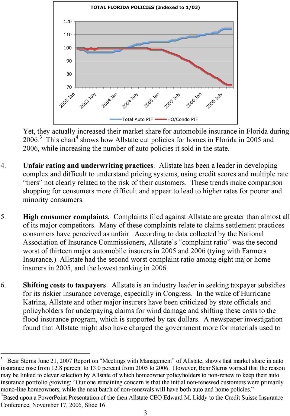 3 This chart 4 shows how Allstate cut policies for homes in Florida in 2005 and 2006, while increasing the number of auto policies it sold in the state. 4. Unfair rating and underwriting practices.