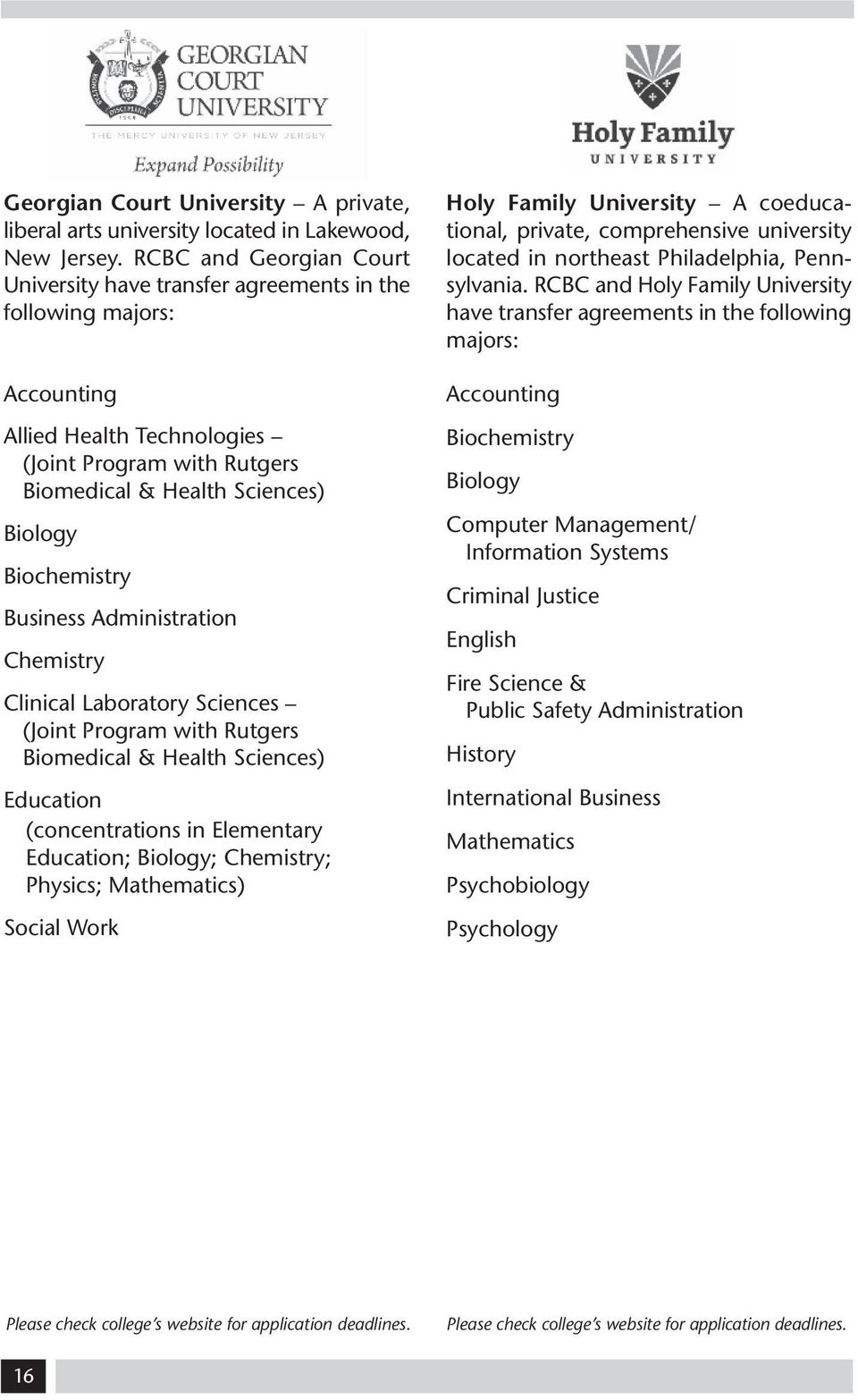 Biochemistry Business Administration Chemistry Clinical Laboratory Sciences (Joint Program with Rutgers Biomedical & Health Sciences) Education (concentrations in Elementary Education; Biology;