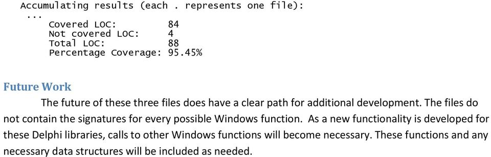 The files do not contain the signatures for every possible Windows function.