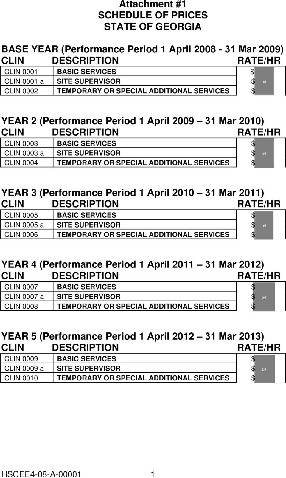 TEMPORARY OR SPECIAL ADDITIONAL SERVICES $ b4 YEAR 3 (Performance Period 1 April 2010 31 Mar 2011) CLIN DESCRIPTION RATE/HR CLIN 0005 BASIC SERVICES $ CLIN 0005 a SITE SUPERVISOR $ CLIN 0006