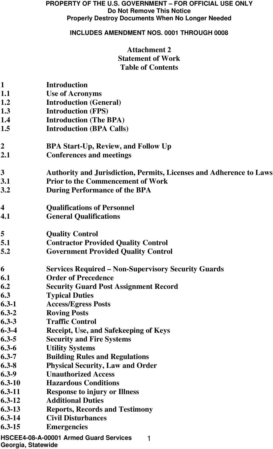 0001 THROUGH 0008 Attachment 2 Statement of Work Table of Contents 2 BPA Start-Up, Review, and Follow Up 2.