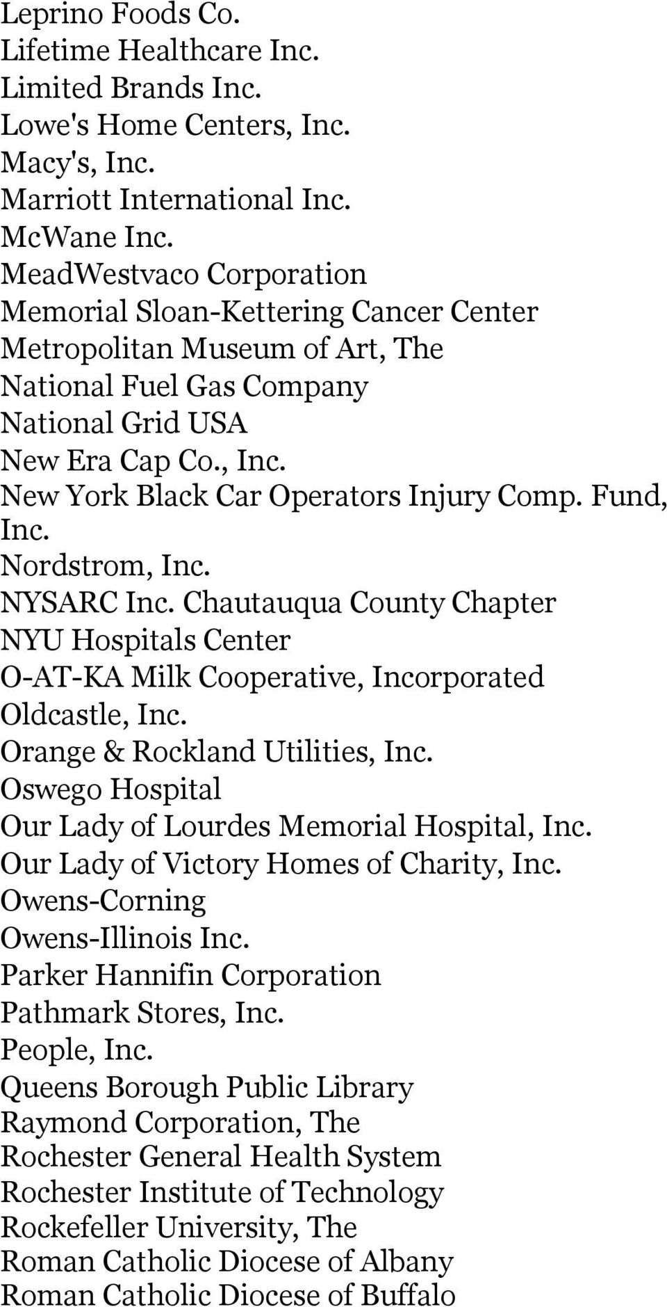 New York Black Car Operators Injury Comp. Fund, Inc. Nordstrom, Inc. NYSARC Inc. Chautauqua County Chapter NYU Hospitals Center O-AT-KA Milk Cooperative, Incorporated Oldcastle, Inc.