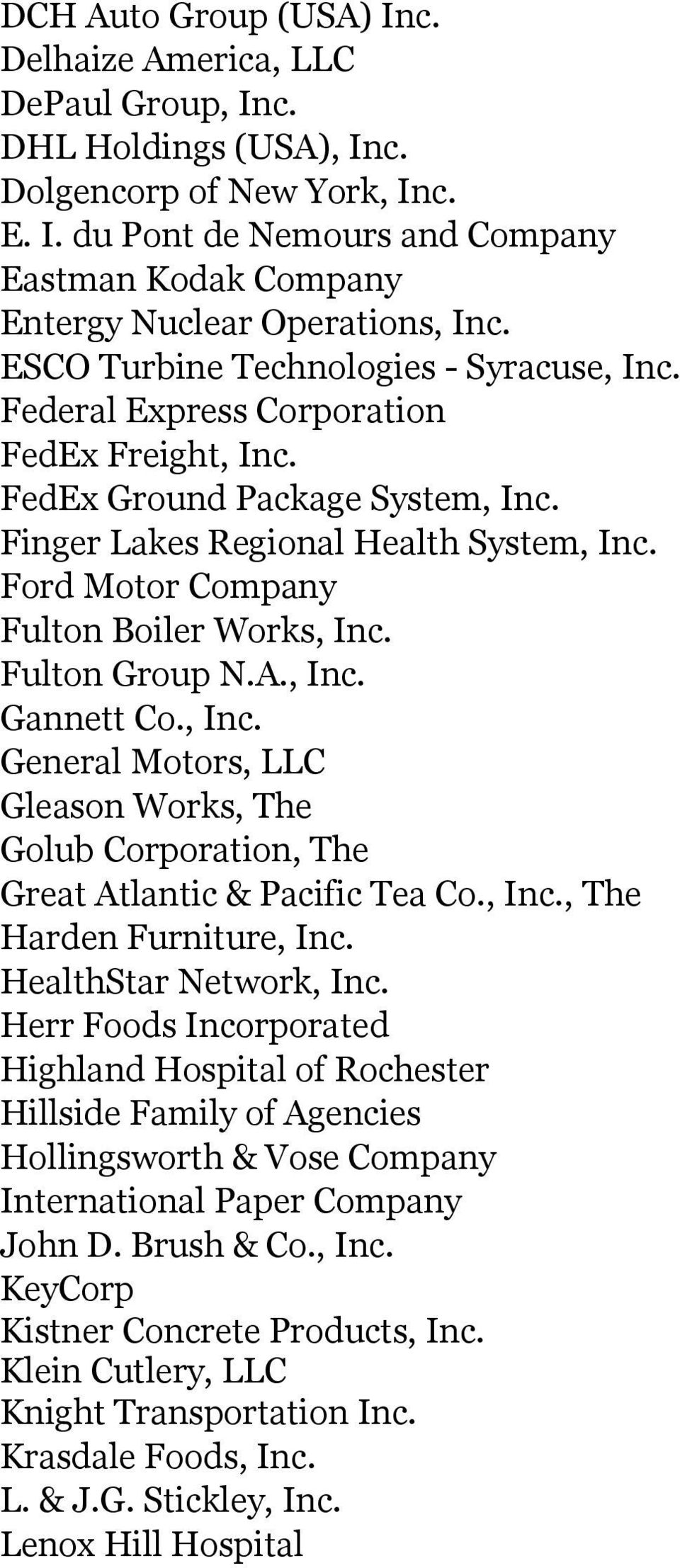 Ford Motor Company Fulton Boiler Works, Inc. Fulton Group N.A., Inc. Gannett Co., Inc. General Motors, LLC Gleason Works, The Golub Corporation, The Great Atlantic & Pacific Tea Co., Inc., The Harden Furniture, Inc.