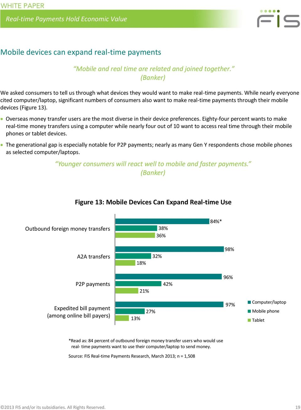 While nearly everyone cited computer/laptop, significant numbers of consumers also want to make real-time payments through their mobile devices (Figure 13).
