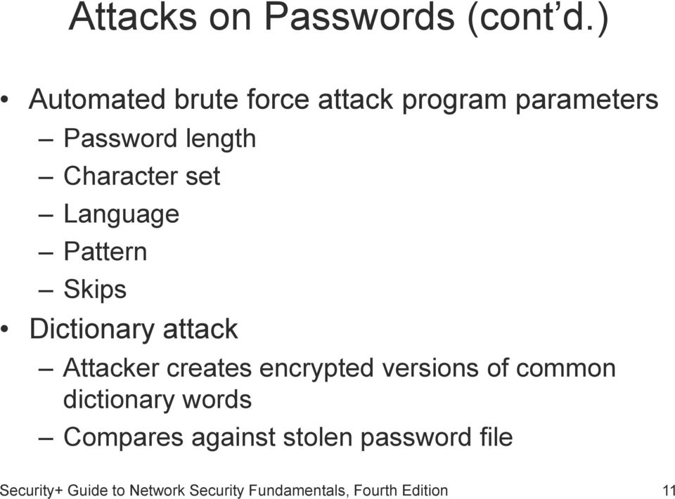 Language Pattern Skips Dictionary attack Attacker creates encrypted versions of