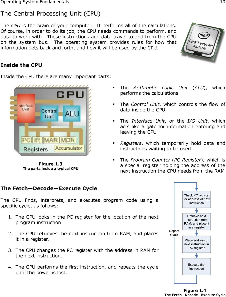 The operating system provides rules for how that information gets back and forth, and how it will be used by the CPU.