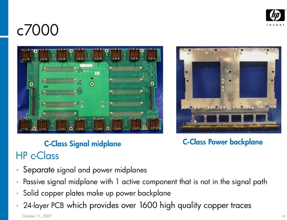 that is not in the signal path Solid copper plates make up power backplane