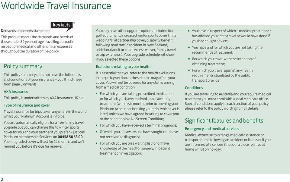 AXA Insurance This policy is underwritten by AXA Insurance UK plc. Type of insurance and cover Travel insurance for trips taken anywhere in the world whilst your Platinum Account is in force.